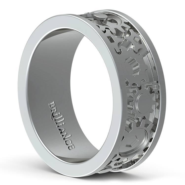 Gear Channel Men's Wedding Ring in White Gold | 04
