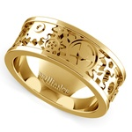 Gear Channel Men's Wedding Ring In Yellow Gold | Thumbnail 01