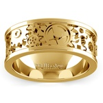 Gear Channel Men's Wedding Ring In Yellow Gold | Thumbnail 02