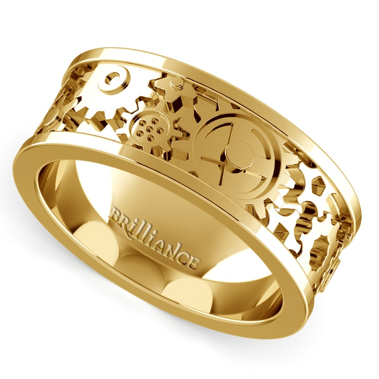 Gear Channel Men's Wedding Ring In Yellow Gold | 01