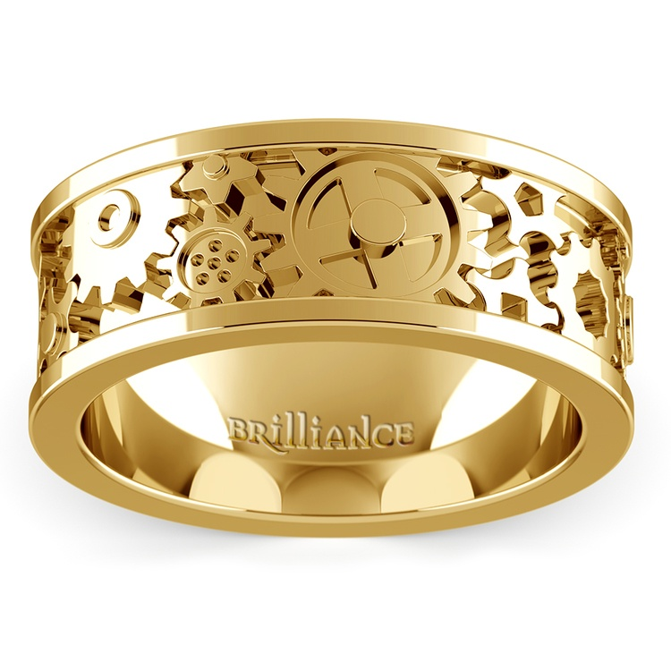 Gear Channel Men's Wedding Ring In Yellow Gold | 02