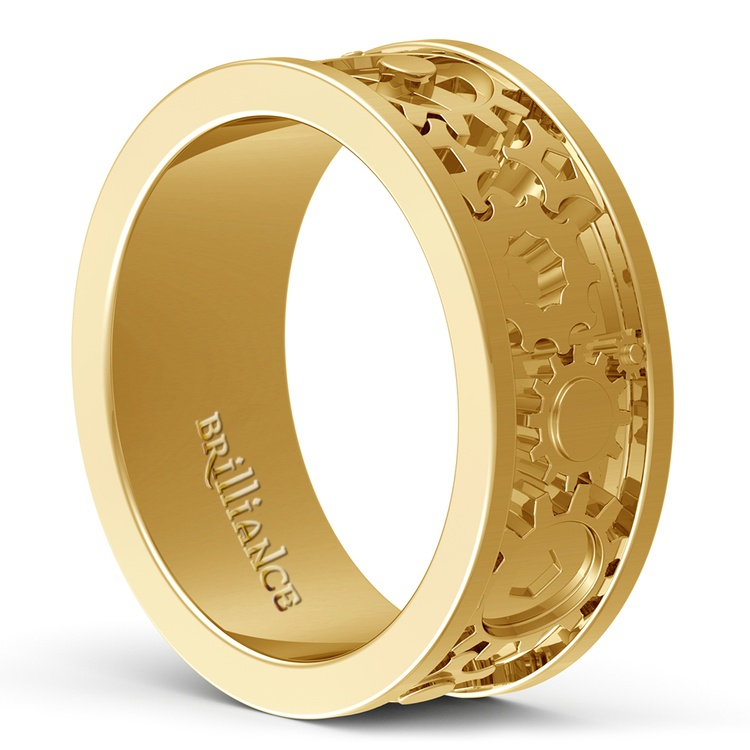Gear Channel Men's Wedding Ring In Yellow Gold | 04