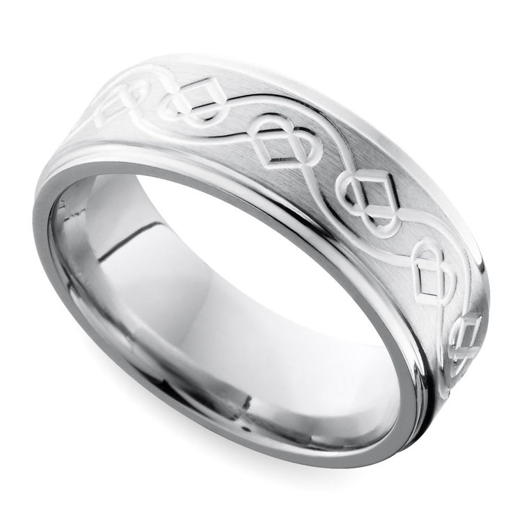 Grooved Edge Celtic Heart Men's Wedding Ring in Cobalt (9 mm) | 01