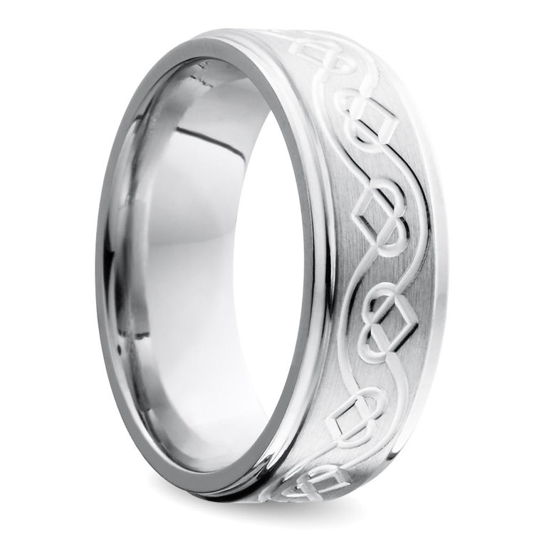 Grooved Edge Celtic Heart Men's Wedding Ring in Cobalt (9 mm) | 02