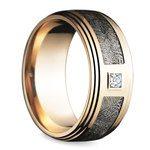 Grooved Edge Diamond Men's Wedding Ring in Rose Gold | Thumbnail 02