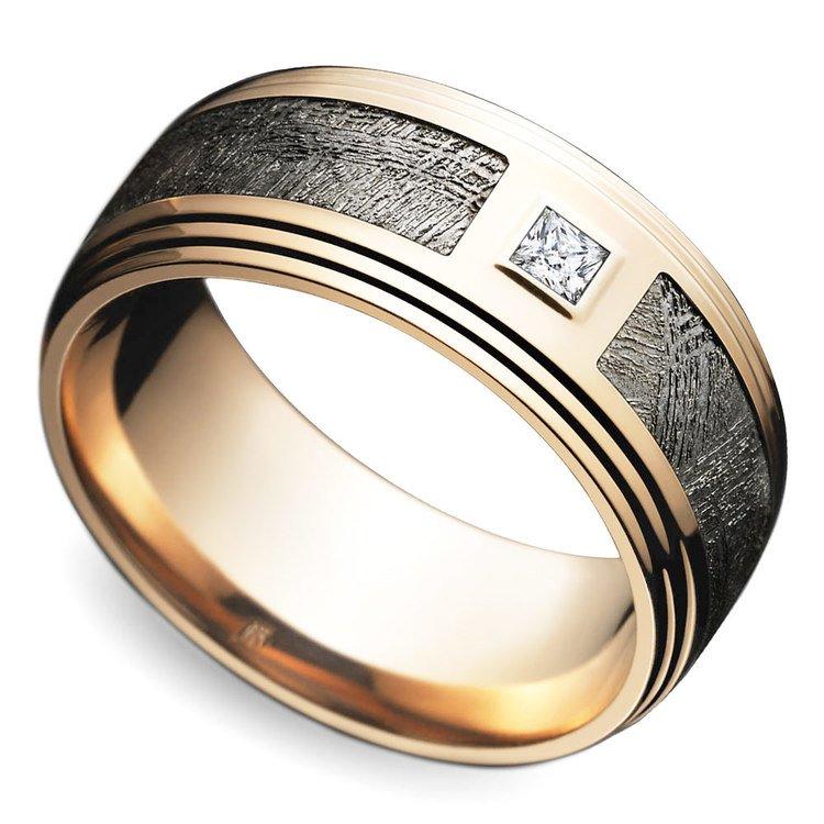 Grooved Edge Diamond Men's Wedding Ring in Rose Gold | 01