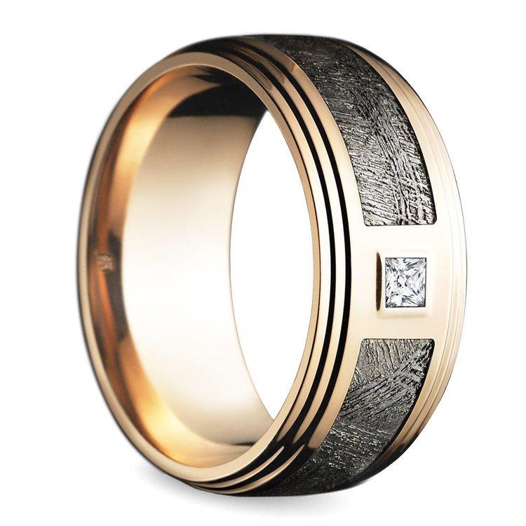Grooved Edge Diamond Men's Wedding Ring in Rose Gold | 02