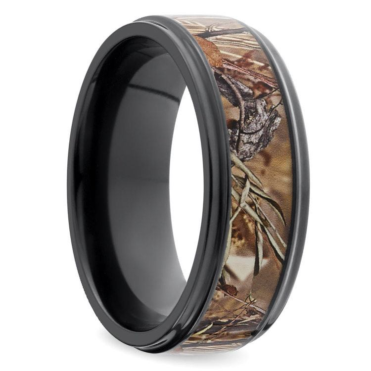 Grooved Edge Flat Men's Wedding Ring with Camo Inlay in Zirconium | 02