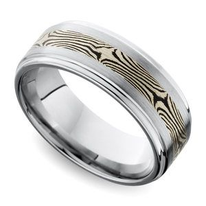 Grooved Edge Flat Men's Wedding Ring with Mokume Inlay in Cobalt