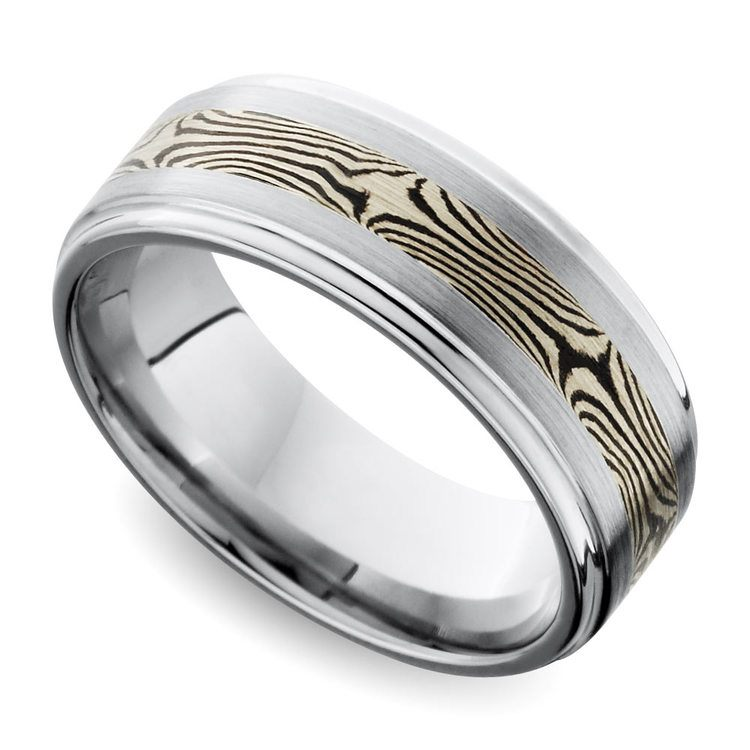 Grooved Edge Flat Men's Wedding Ring with Mokume Inlay in Cobalt | 01