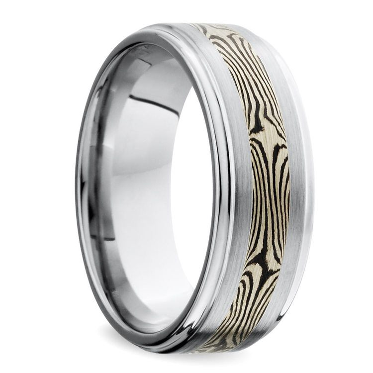 Grooved Edge Flat Men's Wedding Ring with Mokume Inlay in Cobalt | 02