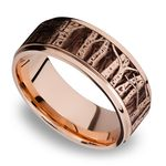 Grooved Edge Men's Wedding Ring with Laser Carved Aspen Design in 14K Rose Gold | Thumbnail 01