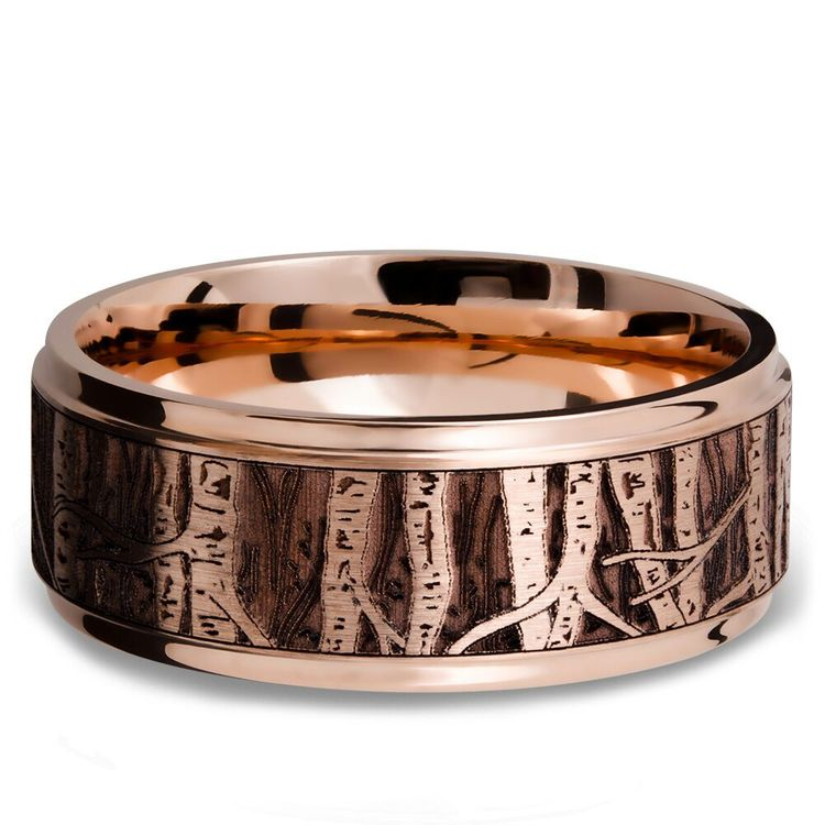 Grooved Edge Men's Wedding Ring with Laser Carved Aspen Design in 14K Rose Gold | 03