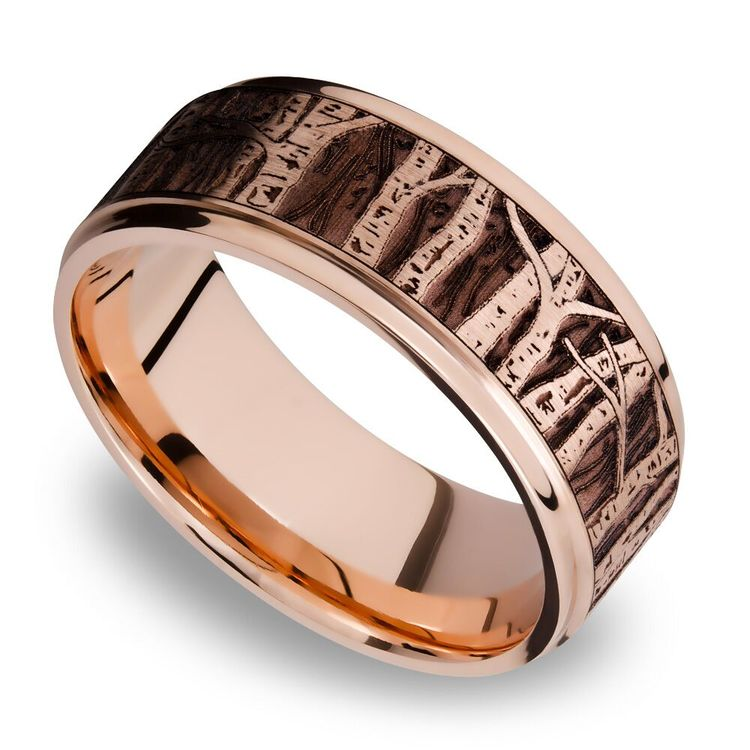 Grooved Edge Men's Wedding Ring with Laser Carved Aspen Design in 14K Rose Gold | 01