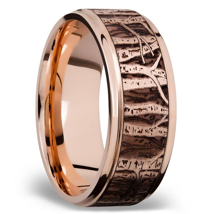 Grooved Edge Men's Wedding Ring with Laser Carved Aspen Design in 14K Rose Gold | 02