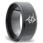 Grooved Edges Men's Wedding Band with a Marlin in Zirconium | Thumbnail 02