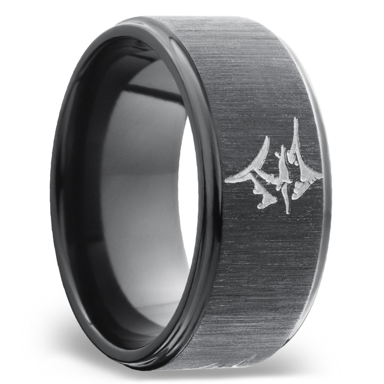 Grooved Edges Men's Wedding Band with a Marlin in Zirconium | 02
