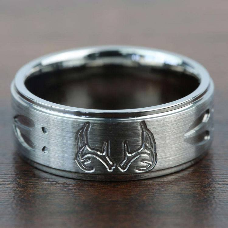Grooved Mens Wedding Ring with Deer Track & Antler Pattern in Titanium | 03