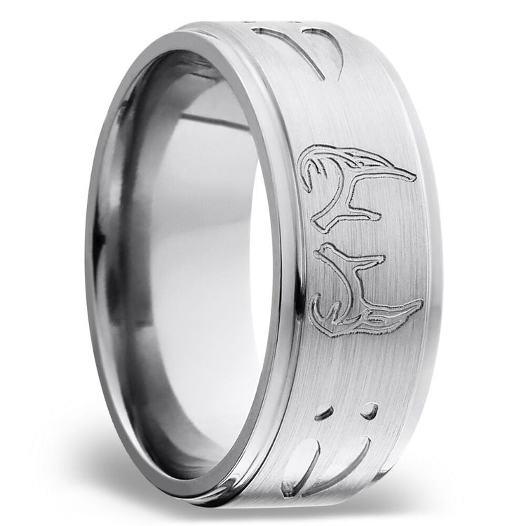 Grooved Mens Wedding Ring with Deer Track & Antler Pattern in Titanium | 02