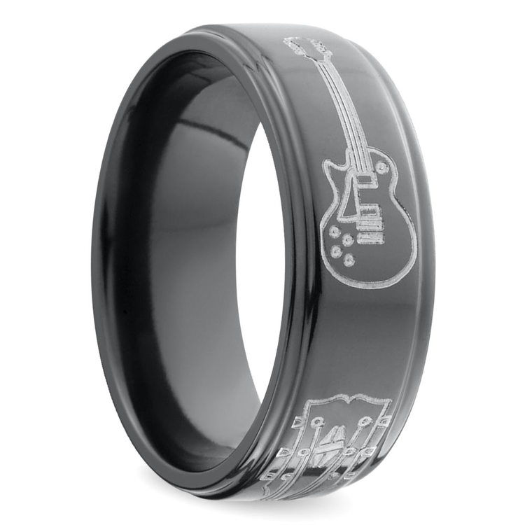 Guitar Pattern Men's Wedding Ring in Zirconium | 02