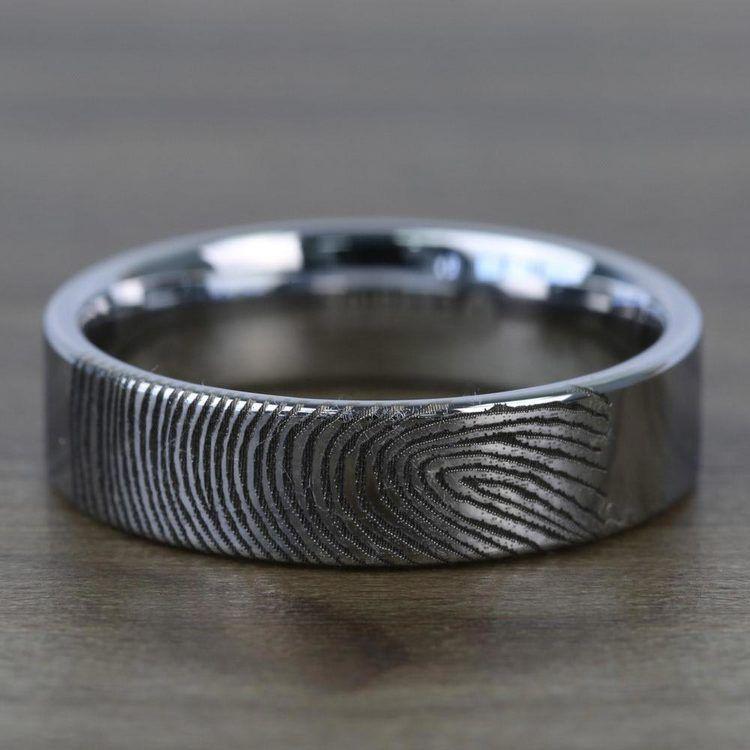 Gumshoe - 6mm Flat Tungsten Mens Band with Fingerprint Engraving | 04