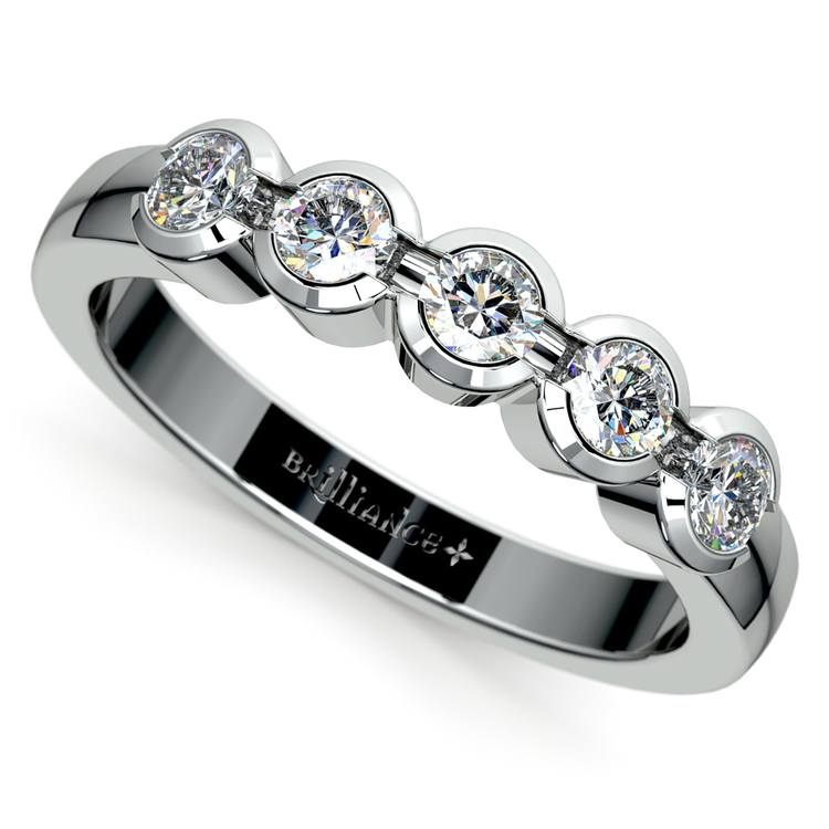Half Bezel Diamond Wedding Ring in Palladium | 01
