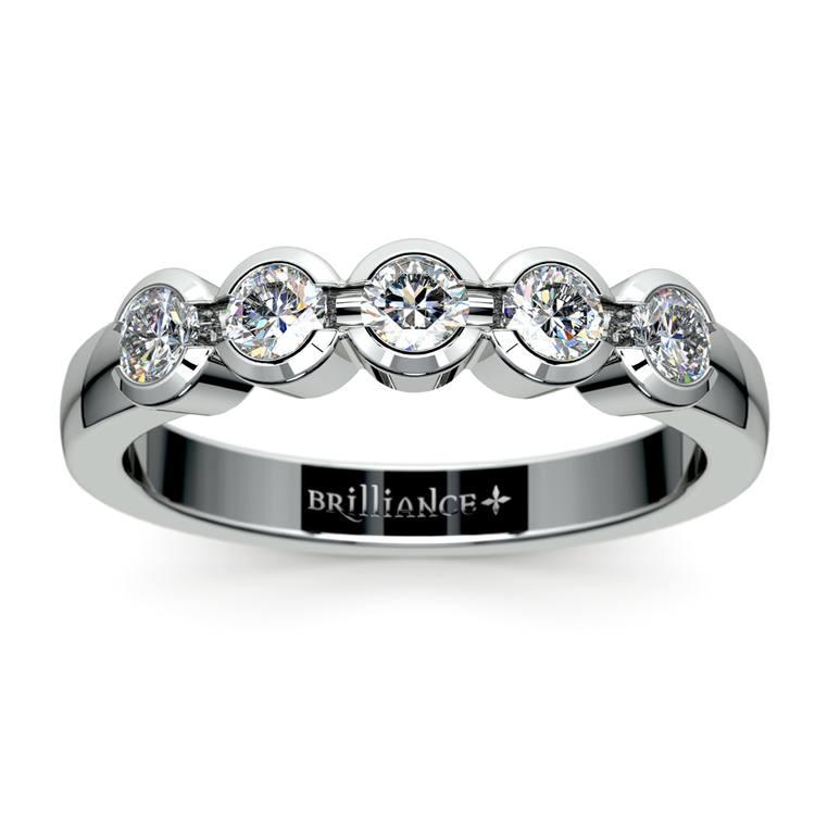 Half Bezel Diamond Wedding Ring in Palladium | 02