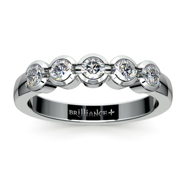 Half Bezel Diamond Wedding Ring in White Gold | 02