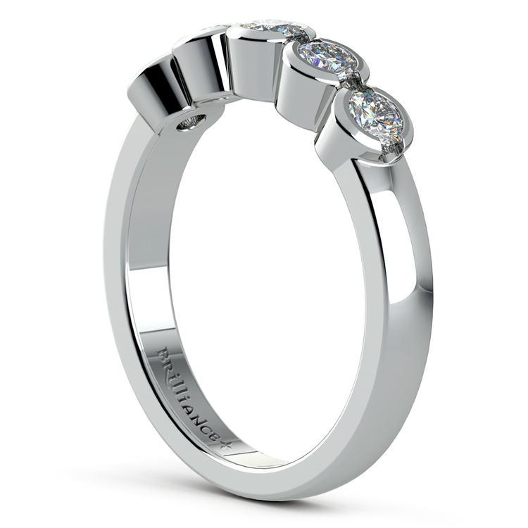 Half Bezel Diamond Wedding Ring in White Gold | 04