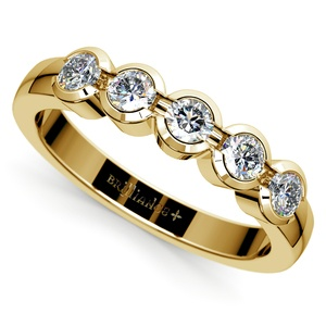 Half Bezel Diamond Wedding Ring in Yellow Gold