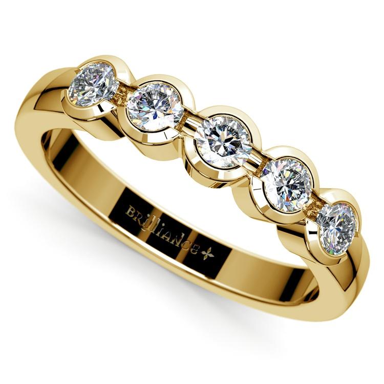 Half Bezel Diamond Wedding Ring in Yellow Gold | 01