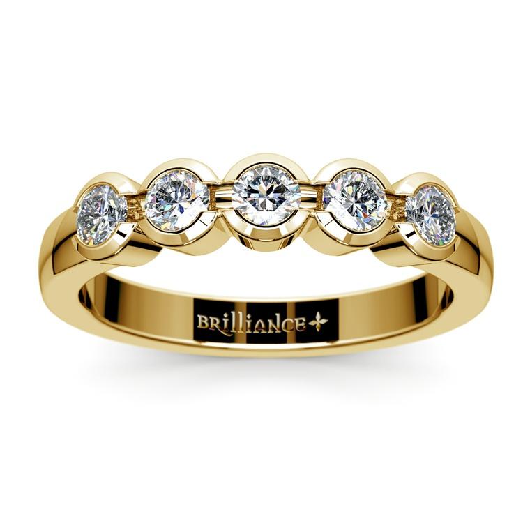 Half Bezel Diamond Wedding Ring in Yellow Gold | 02