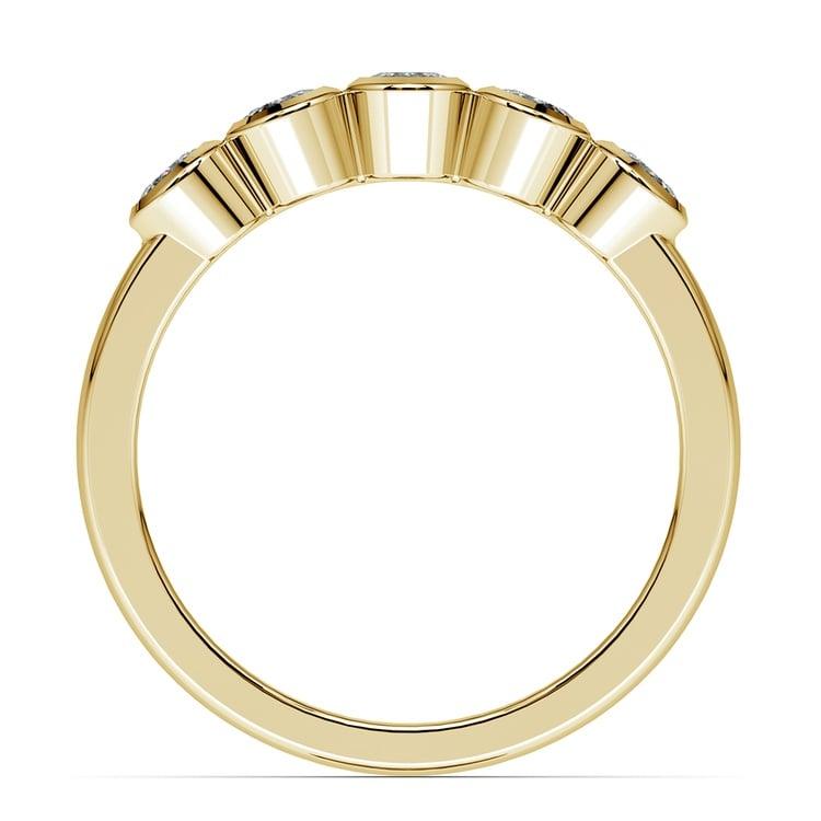 Half Bezel Diamond Wedding Ring in Yellow Gold | 03
