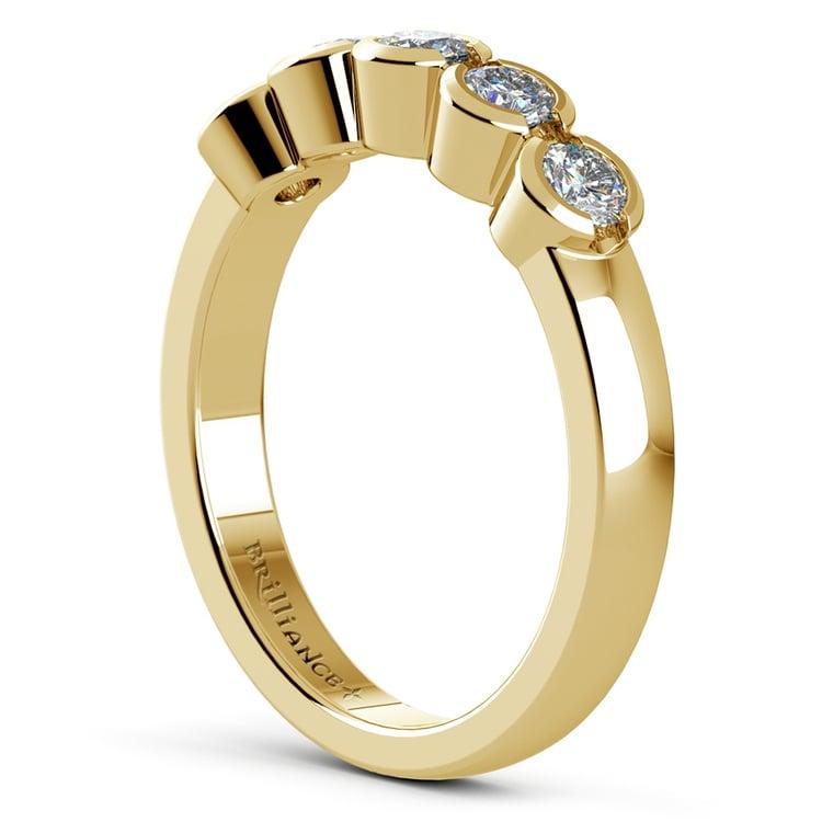Half Bezel Diamond Wedding Ring in Yellow Gold | 04
