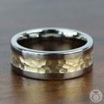 Hammered 14K Yellow Gold Inlay Men's Wedding Ring in Titanium | Thumbnail 03