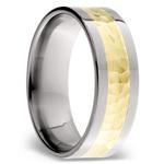 Hammered 14K Yellow Gold Inlay Men's Wedding Ring in Titanium | Thumbnail 02