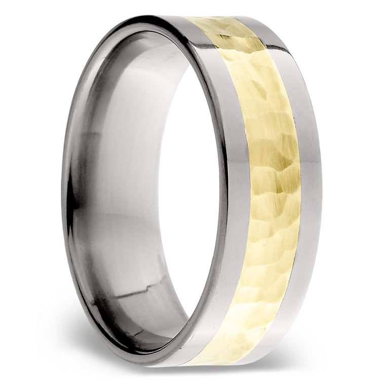 Hammered 14K Yellow Gold Inlay Men's Wedding Ring in Titanium | 02