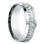 Hammered Beveled Men's Wedding Ring in Palladium | Thumbnail 02