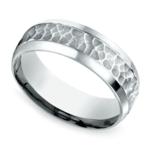 Hammered Beveled Men's Wedding Ring in Platinum | Thumbnail 01
