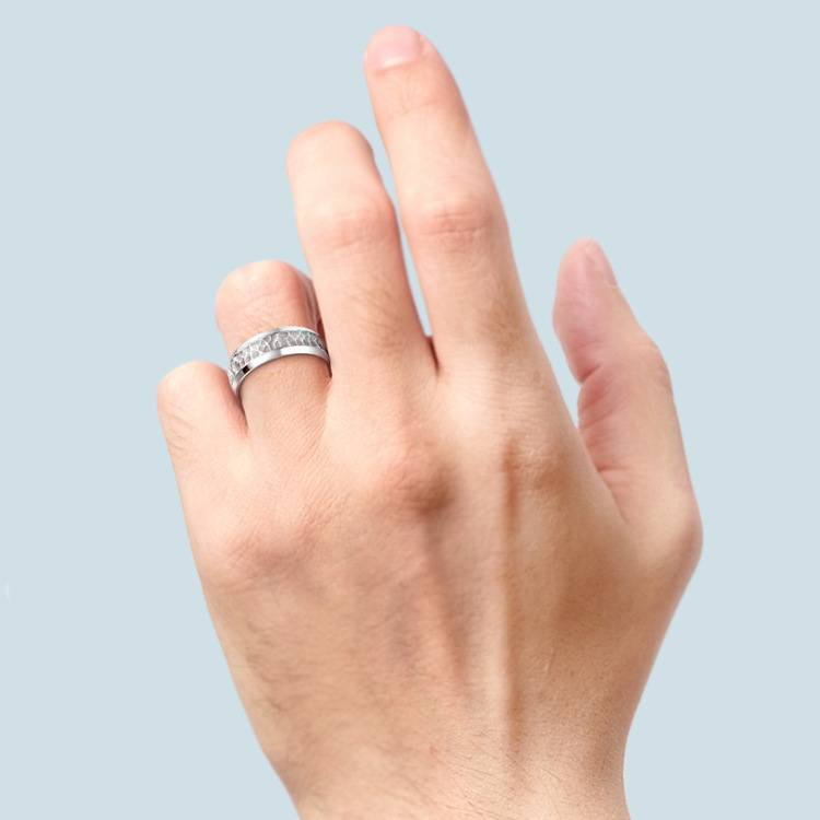 Hammered Beveled Men's Wedding Ring in Platinum   03