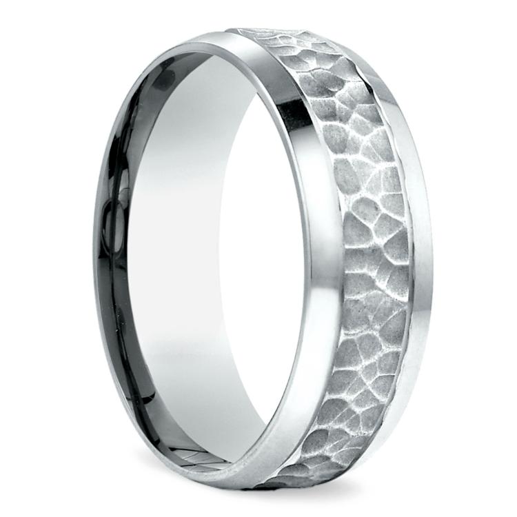 Hammered Beveled Men's Wedding Ring in Platinum | 02