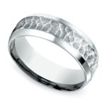 Hammered Beveled Men's Wedding Ring in White Gold | Thumbnail 01