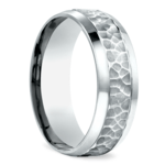 Hammered Beveled Men's Wedding Ring in White Gold | Thumbnail 02