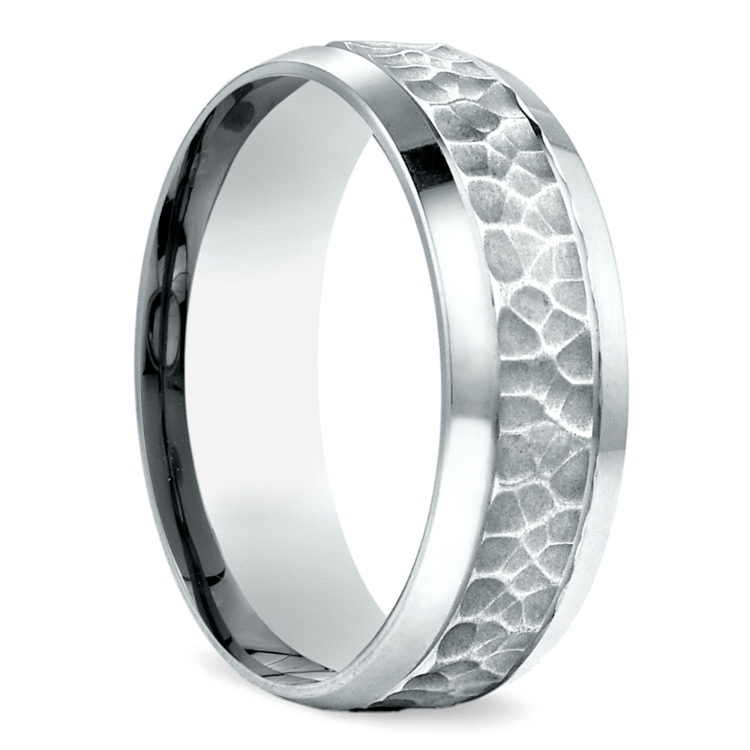 Hammered Beveled Men's Wedding Ring in White Gold | 02
