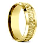 Hammered Beveled Men's Wedding Ring in Yellow Gold   Thumbnail 02