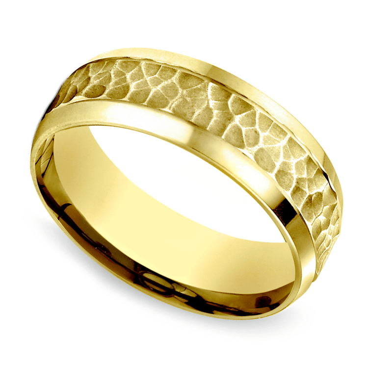Hammered Beveled Men's Wedding Ring in Yellow Gold   01