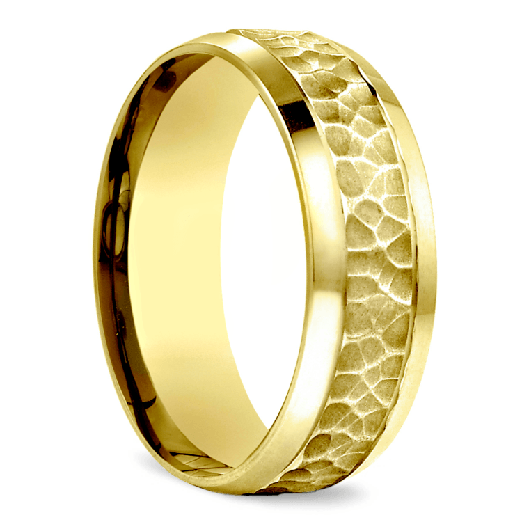 Hammered Beveled Men S Wedding Ring In Yellow Gold
