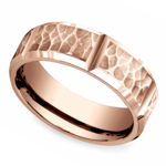 Hammered Carved Men's Wedding Ring in Rose Gold | Thumbnail 01