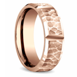 Hammered Carved Men's Wedding Ring in Rose Gold | Thumbnail 02