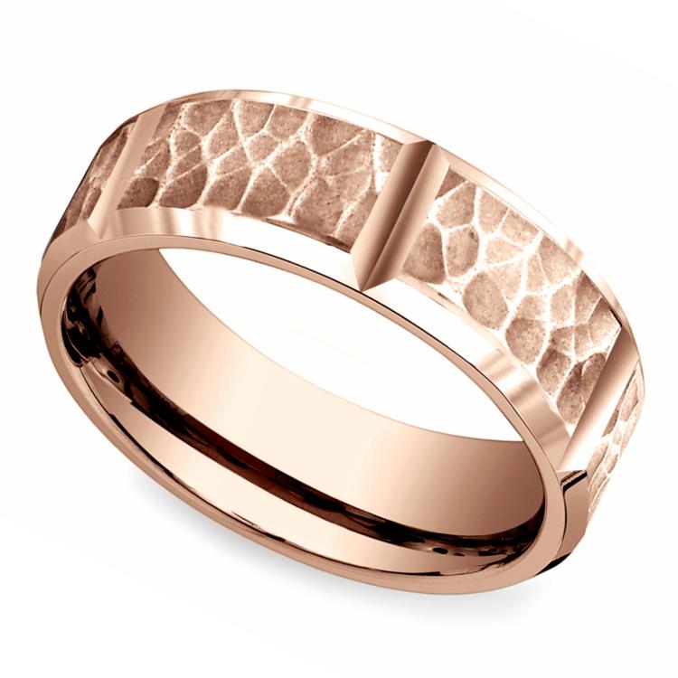 Hammered Carved Men's Wedding Ring in Rose Gold | 01